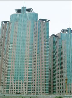 "The completed towers with their ""granite"" exteriors."