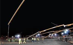 Larger pours were done at night to facilitate access for ready-mix trucks.