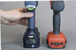 Festool's battery gauge is on the drill and displays the level of charge whenever you squeeze the trigger. Hilti's gauge is activated by snapping the battery into the tool. Neither gauge works unless the battery is on the tool.