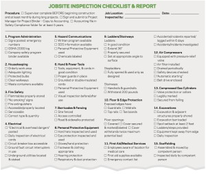 good form jobsite safety checklist remodeling workers
