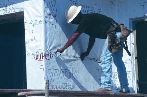 High and Dry: DuPont Tyvek StuccoWrap is specially designed for use with stucco fa§ades. It features an engineered grooved surface designed to better manage water when installed as a drainage plane. The breathable material allows moisture vapor to pass through, which helps promote drying in wall systems and prevent the growth of mold and mildew. For more information, call Tyvek at 800-44-TYVEK or visit www.construction.tyvek.com.
