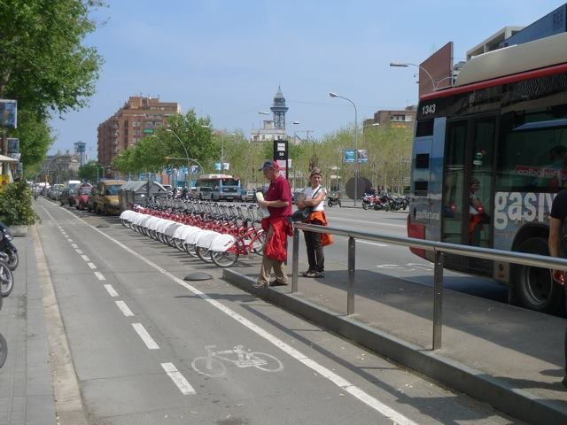 Bikes lanes, shared bikes, and busses in Barcelona.