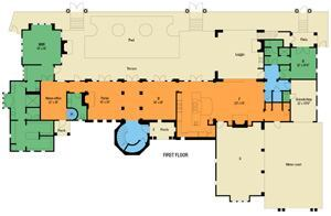 SMART PLAN: The home's decidedly linear, two-story floor plan takes maximum advantage of lake views along the rear of the property. Private spaces are pushed to the ends, such as the master bath and closet on one side and the guest suite and one-car garage (topped by spa room and home theater) on the other, a scheme that not only separates them from daily activity, but also preserves views for those spaces that truly deserve and need them. Notice the garages, too: The four bays are split up and turned away or set back from the front elevation on one end of the lot, thus diminishing their mass and bulk. But they also access the house where you'd want them to, directly into the kitchen and the passage past the elevator and rear stairs ... with a separate door to the motor court, to boot.