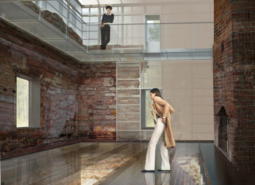 Interior rendering shows exposed rubble walls and glass floor over barrel vaulted wine cellar.