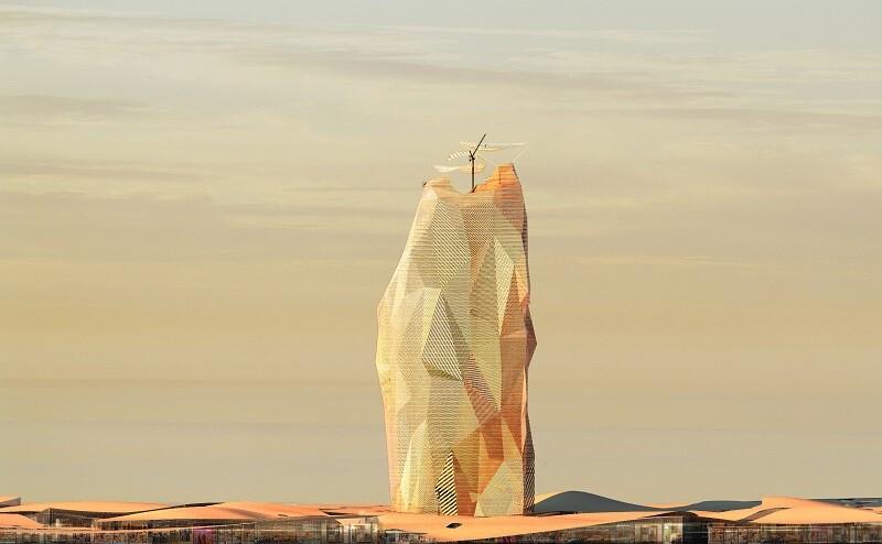 vertical city in sahara desert that looks like boulder
