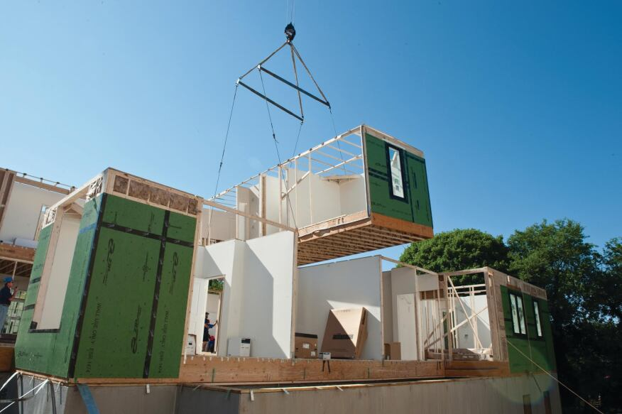 EXPOSURE TO THE ELEMENTS: The show's decision to install the roof at the jobsite instead of the factory was undermined by rain that caused some of the open modules' interiors to be damaged.