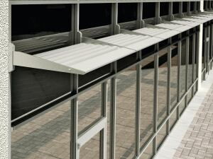 As part of YKK APs EnerGfacade line, the ThermaShade sunshade system features a thermal barrier to reduce a buildings overall energy consumption. The system can be applied across the entire building fa§ade to maintain a consistent and aesthetically pleasing appearance. Pre-engineered solutions are available in more than 100 configurations, including standard outrigger designs, eight standard lower options, and five standard fascia options. ¢ ykkap.com