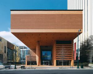 A lone column keeps silent sentry in the plaza of Charlotte, N.C.'s Bechtler Museum of Modern Art, which opened in January. Although the 47-foot-tall pillar is structurally necessary and part of the overall column grid, its girth is deceptive—a convex steel armature encloses the load-bearing concrete column within and supports a skin of terra-cotta tiles—and is meant to convey the building's massiveness.