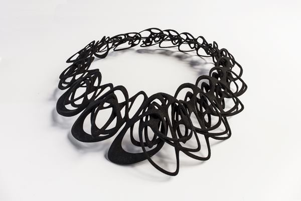 Catena is one of three necklaces forthcoming in designer Jenny Wu's collection of 3D printed and cast jewelry. It measures 7.6 inches wide and long.