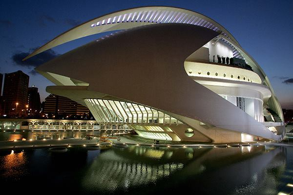 The opera house at twilight in Valencia, Spain on Oct. 5, 2005.