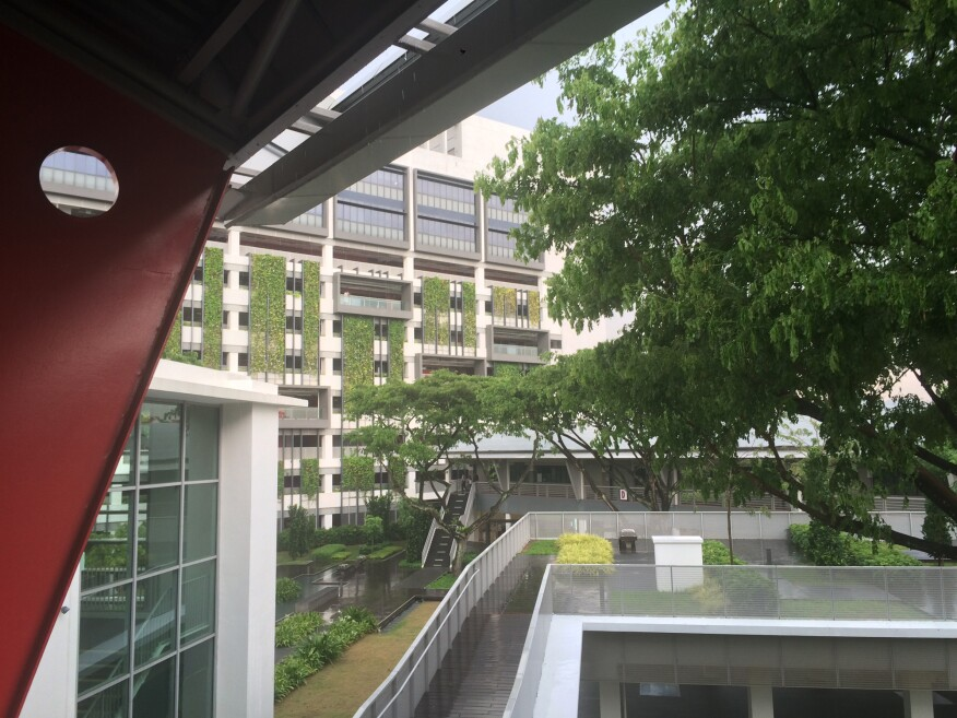 A few from a covered walkway of the Zero Energy Building over the campus of the Building and Construction Authority, in Singapore.