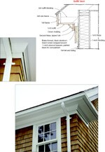 To avoid unsightly strip vents or metal button vents, conceal a soffit vent behind the crown molding that typically installs between the fascia and soffit on a house.