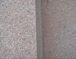 A close-up with BOLDGranite on the left next to real granite.