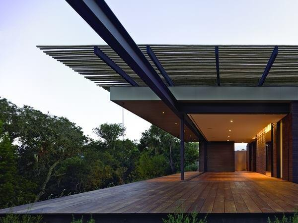 View of cantilevered lodge pole pine canopy by Aidlin Darling Design for Sonoma Retreat in Sonoma, California.