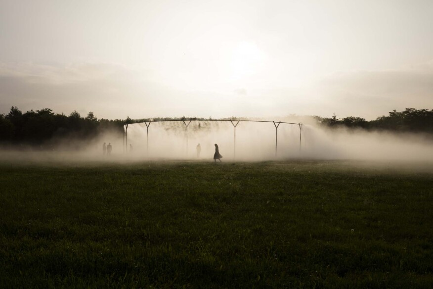 """The ephemeral """"Fog Assembly"""" changes in appearance depending on the time of day and if it is windy or not."""