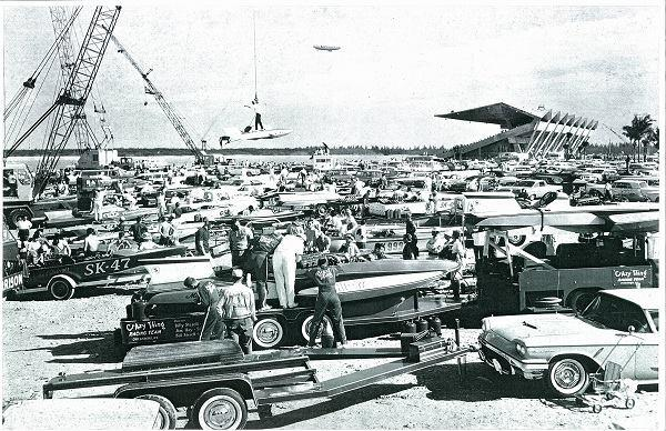 Boats are lowered into the basin in preparation for a race at the Miami Marine Stadium in the 1960s.