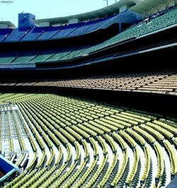 Crews weather- and stain-proofed almost 500,000 square feet of concrete in Dodger Stadium's seating area.