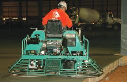 This ride-on trowel allows the operator to go over the edge of the slab, ensuring a consistent, smooth finish.