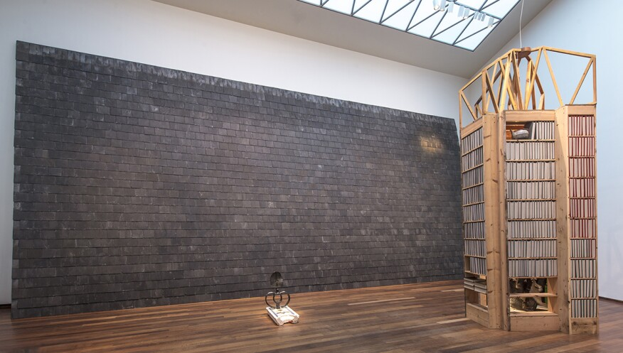 """Slate Corridor for Possibility of Speaking in Tongues and Depositing Ghetto Reliquary"" (back), ""Something about Modernism and Death"" (center), and ""New Egypt Sanctuary of the Holy Word and Image"" (right) at the National Gallery of Art"