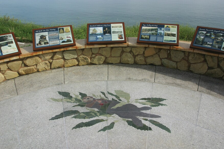 Large artworks were installed in Fall of 2015 using various types of flame polished granite and other stone in the specially designated ground areas near pull-outs and overlooks along Pacific Highway #1.