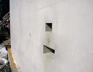 Even very sharp corners are perfectly formed using SCC. Note that every feature of a form is directly reflected into the concrete, whether desired or not.