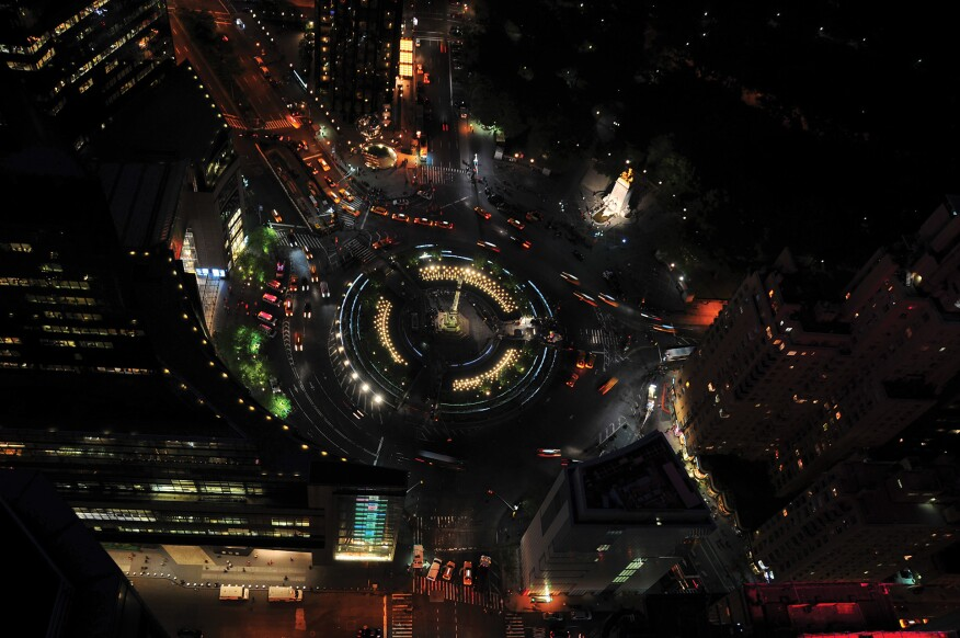 The urban nightscape as illustrated by an aerial view of Columbus Circle in New York City.