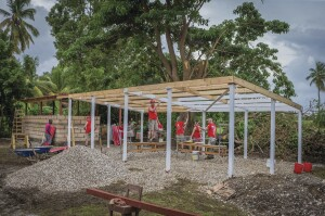 The project included a large pavilion to shelter students from sun and rain.