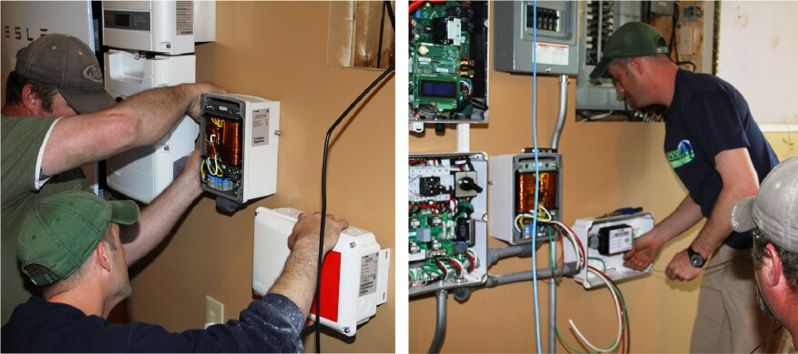 With the Powerwall battery and StorEdge inverter in place, the electricians add a transformer (which regulates voltage and improves efficiency and power quality) and a SolarEdge smart meter (which communicates between the equipment and the utility and homeowner).