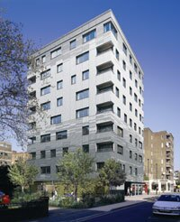 Stadthaus N1, London. This eight-story apartment building is made of cross-laminated timber.