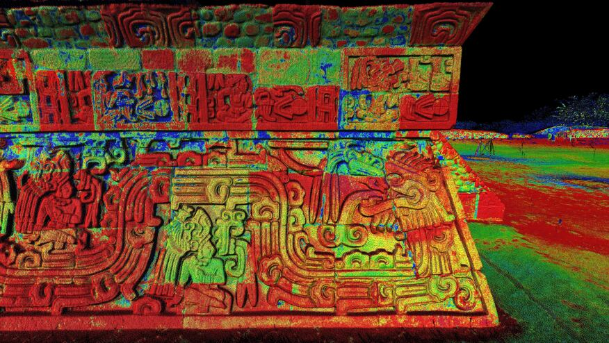 A laser scan of the Xochicalco site in Mexico.