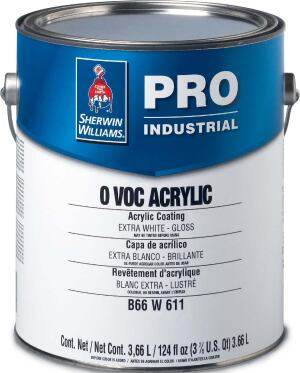 0 VOC Acrylic paints  Sherwin-Williams  sherwin-williams.com  Zero-VOC coating    Part of Pro Industrial line    Emits no odors    Single-component package    Does not need to be mixed or measured    Available in gloss or semi-gloss finishes    Early moisture resistance    Suitable for high-traffic environments, including healthcare, hospitality, educational, commercial, and industrial applications