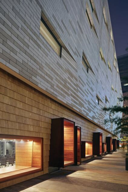 At ground level, wood cladding softens the building's exterior.
