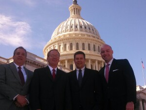 Jay Short, president of Short and Paulk, Chuck Bankston, president of Bankston Lumber, Jim Moody, president of Construction Suppliers Association, and Garrett Pepper, account executive at Federated Insurance, visited lawmakers in the U.S. Congress April 1 during the NLBMDA's annual legislative conference. Photo by Steve Campbell
