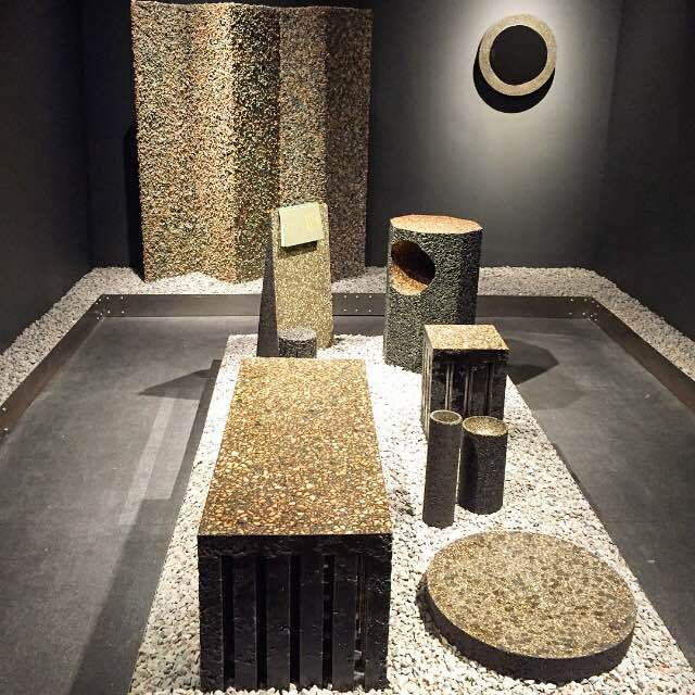 """Quintus Kropholler's """"Black Gold"""" installation, with its concrete forms, at the Chamber display at Design Miami."""