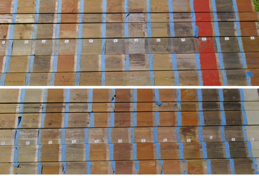 Here is how the finishes fared on each type of wood decking after 28 months of exposure. From top to bottom in both photos, the decking is micronized-CA-treated southern yellow pine; well-seasoned western red cedar; lodgepole pine; ipe; ACQ-treated southern yellow pine; and seasoned ACQ-treated hem-fir decking. The numbers on the decking can be used along with the chart to identify each finish.