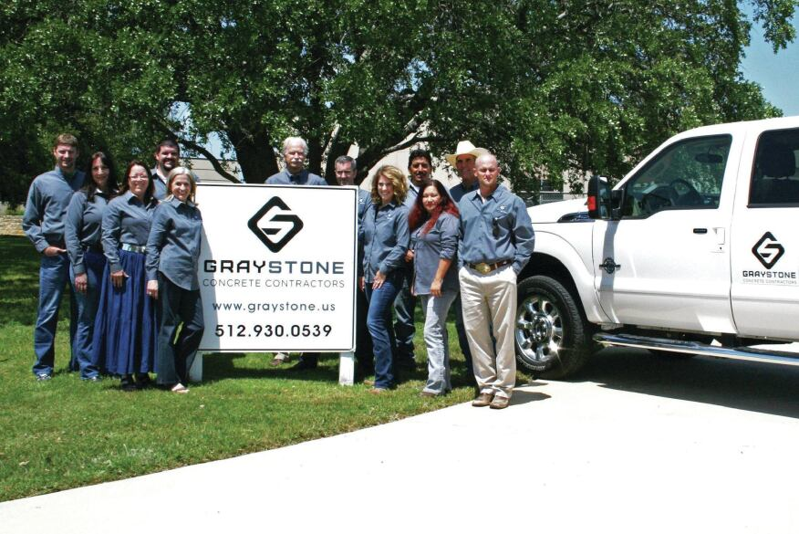 The Graystone crew from left to right: Brian Plagens (Estimator), DeeAnn Smith (Project Engineer), Becky Colvin (Accounting Specialist), Chris Lalla, Carol Woods, Todd Woods (Owner), Cory Cardner (Senior Project Manager/Accounting Mgr.), Roxanne Woods (Accounting Clerk), Saul Perez (Field Manager), Mirella Aviles (Safety Officer), Tim David (Field Coordinator), and Logan Sill (Estimator), Not pictured: Dale McNeely (Project Manager)