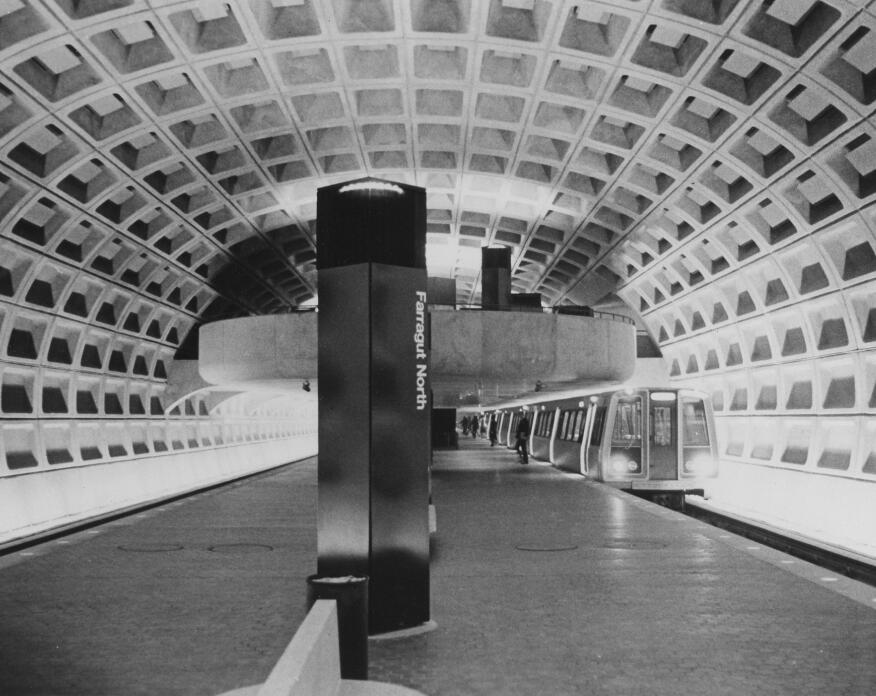 The Farragut North Metro station in Washington, D.C., opened in 1976, and was one of the first stations completed in Weese's plan.