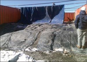 Powerblanket used to heat subgrade and eliminate frosting prior to pouring the concrete.