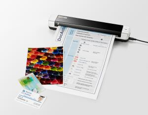 Plustek's MobileOffice S410 features easy operation--one button to scan a card to JPG, another button to create searchable PDFs online