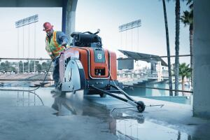 Controlling dust at the source is the best way to protect employees from airborne crystalline silica dest. For example, Husqvarna's FS 6600 flat saw uses water to minimize dust.