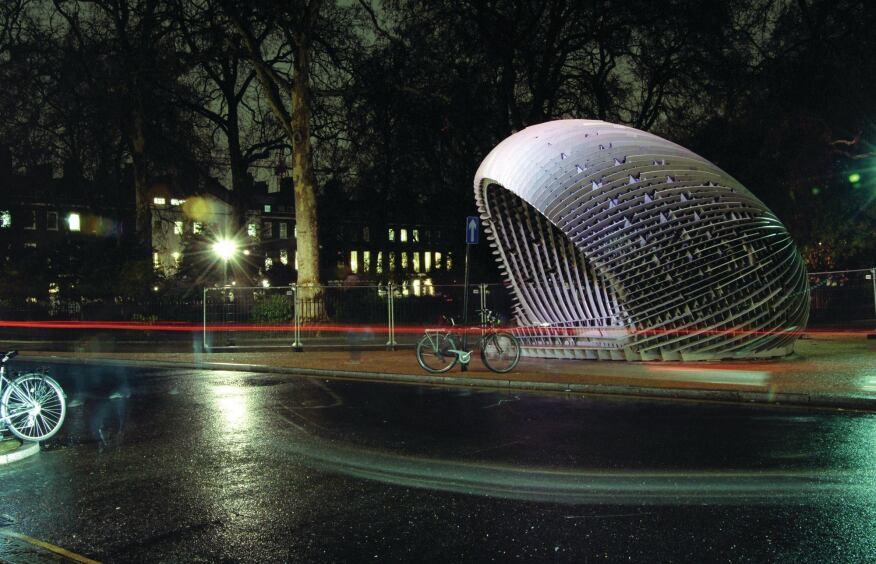 Huang worked with Alan Dempsey, founding director of London-based NEX, on [C]Space Pavilion, which won the AADRL10 competition in 2008. The shell structure comprises CNC-cut sheets of FibreC concrete and rubber gaskets, developed in digital and physical models in collaboration with Austrian manufacturer Rieder.