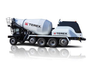 "The new Terex FD5000 ""Great Lakes"" front discharge mixer truck on display at CONEXPO-CON/AGG 2014, is the first Terex mixer truck powered by a compressed natural gas engine."