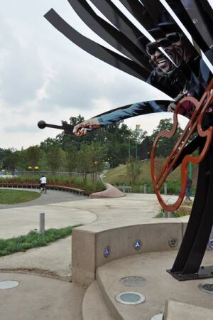 A tall sculpture greets visitors to the Chuck Brown Memorial Park in Washington, D.C.