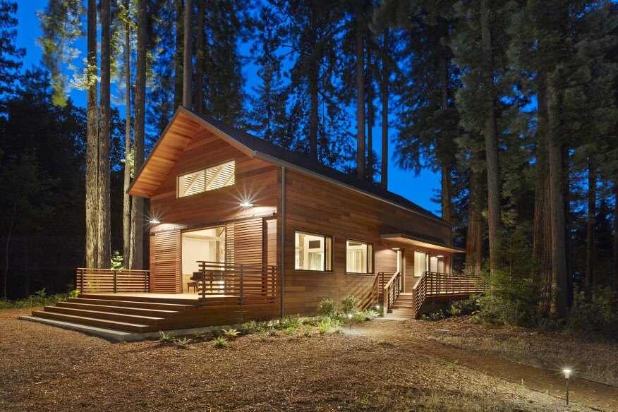 The recording studio is designed as a retreat in the Redwoods of Northern California where the client's musician friends can write and record music.