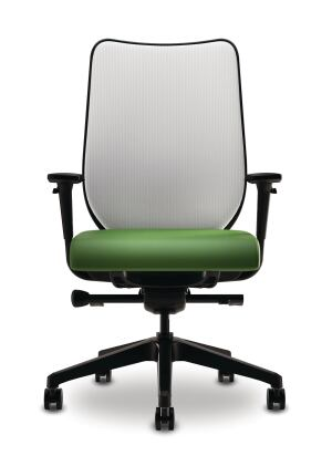 Nucleus is a new ergonomic task chair offering from the HON Co. The seat is crafted out of suspension material stretched over a contoured frame and topped with foam, and the back is clad in ilira-strech M4a four-waystretch meshand is available in three neutral tones. Lumbar support requires no manual adjustment. The task chair is available with or without arms, as is a coordinating guest chair (which stacks four high and can be outfitted with either casters or glides). Designed by Marcus Koepke, Nucleus is SCS-certified as Indoor Advantage Gold, and the seat can be upholstered in any of the companys fabric options. ¢ hon.com