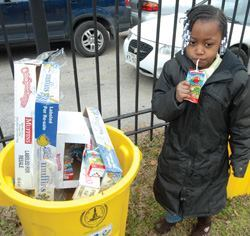 Revenue from commingled recyclables like this resident's juice box is up 98% over last year, when the Baltimore Public Works Department sold only paper. Photo: Steven Cuffie