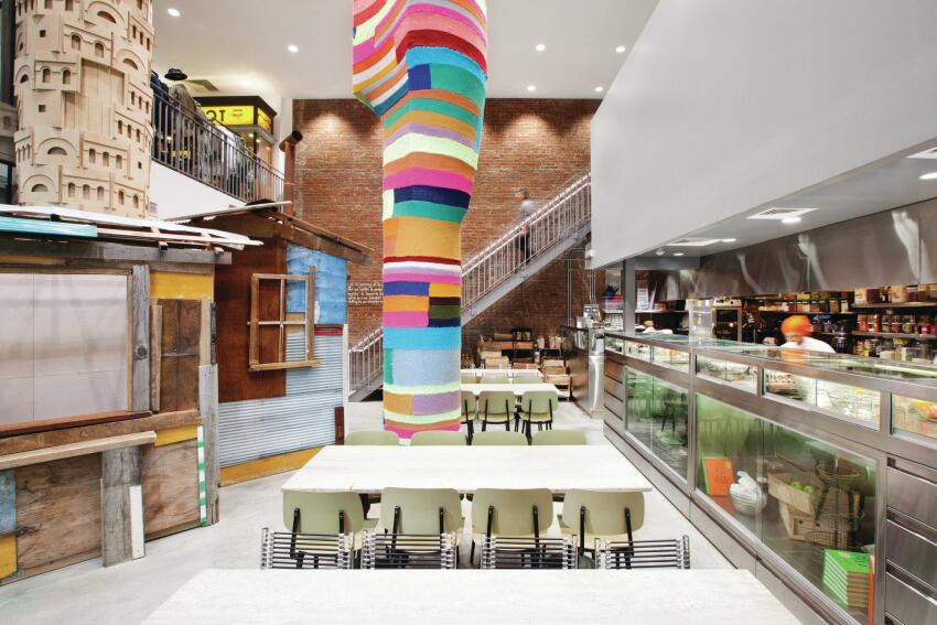 The DSMNY café, a respite from the visual stimulation of the rest of the store.