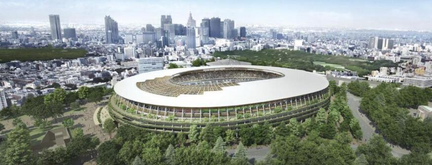 """This rendering provided by the Japan Sports Council shows the Design """"A"""" proposal."""