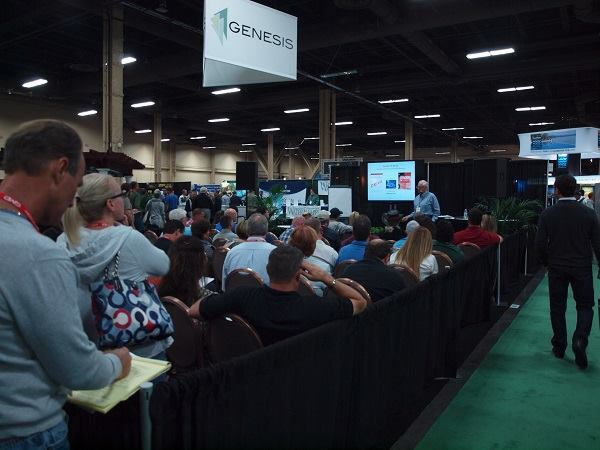 Show attendees taking in a class near the Genesis booth. There were a number of classes on and near the show floor at the International Pool Spa Patio Expo.