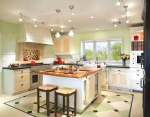"Homeowner Janice Donald wanted a kitchen that was ""reminiscent of my grandmotherís,"" but with modern, green amenities. The countertops are made from compressed paper and bamboo, and the Bertch cabinets are fashioned from FSC-certifi ed plywood boxes with doors that incorporate a formaldehyde-free  wheatboard center panel."